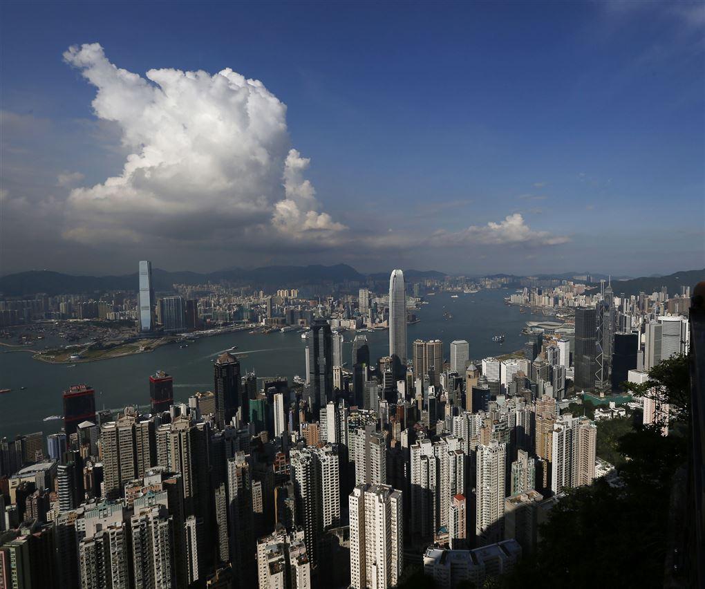 En masse skyskrabere i Hongkong