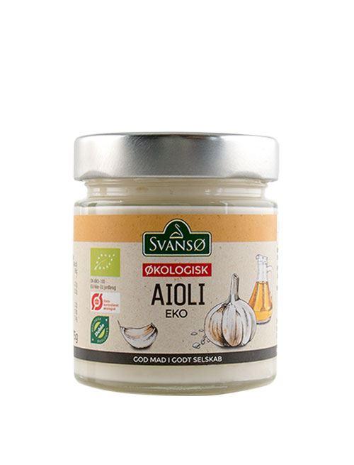Et glas af den omtalte mayonnaise, Det har et metal låg og en etikette med en orange stribe i toppen.