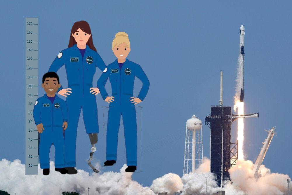 Tegning af astronauter i forskellige størrelser.