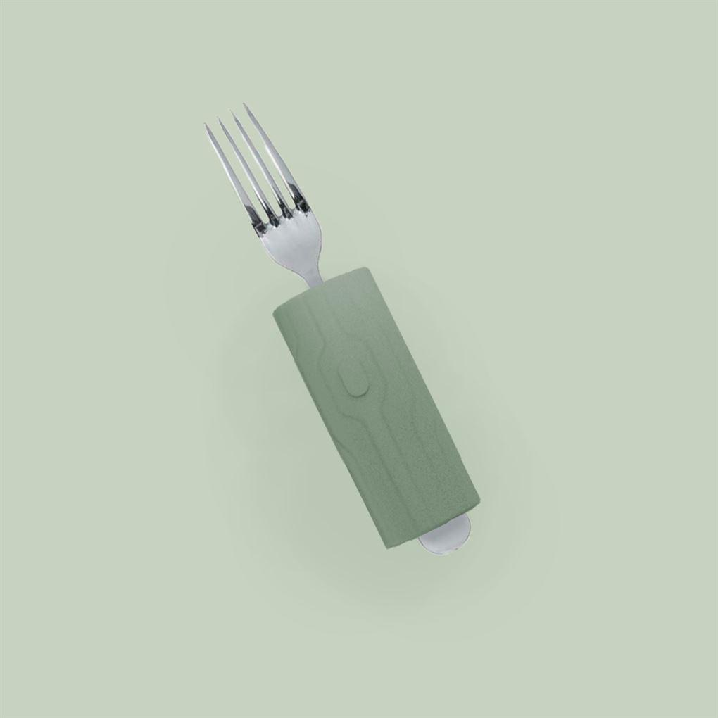 En gaffel med et tykt håndtag på