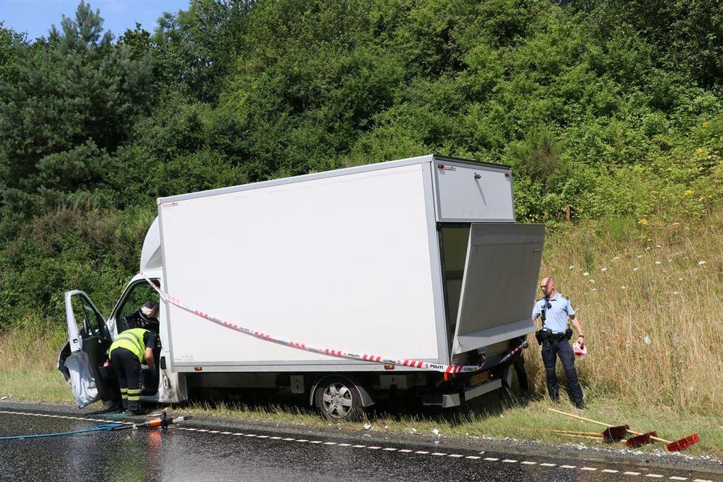 en beskadiget lastvogn