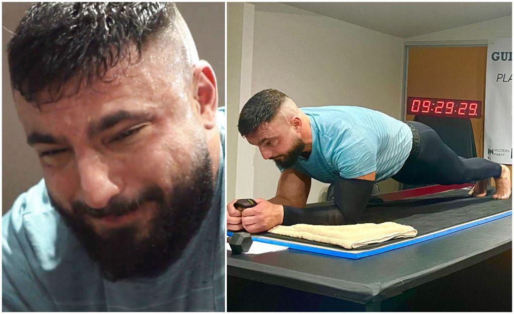 to delt billede hvor man ser hans forpinte ansigt på det ene og ham liggende i planken på det andet.
