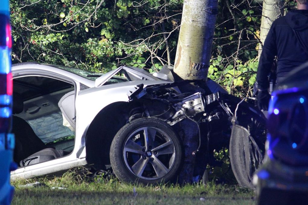 bil har ramt træ