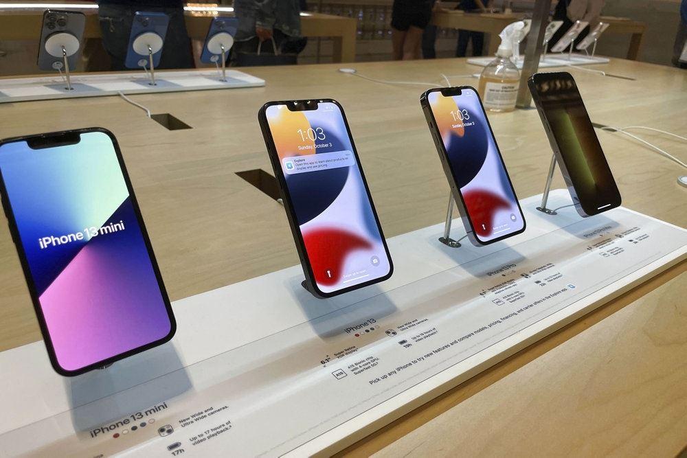 apple telefoner på række