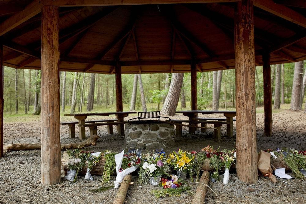 et shelter i en skov